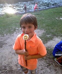 Kid with marshmallow