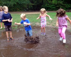 Jumping in mud